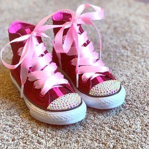 Converse w/ Swarovski crystal toes & ribbon laces.